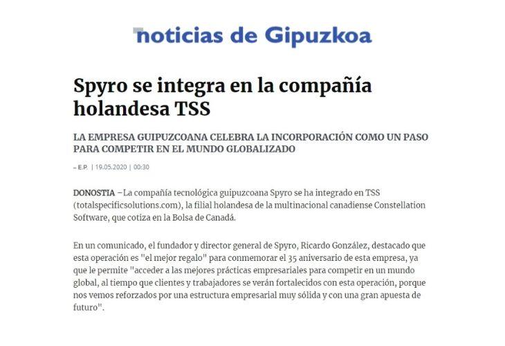 Spyro se integra en la compañía holandesa TSS_noticiasgipuzkoa